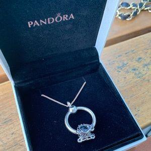 NIB Pandora Small O pendant/carriage charm + chain